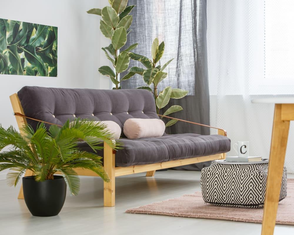 Minimalistic living room at Civic Lofts in Denver, Colorado