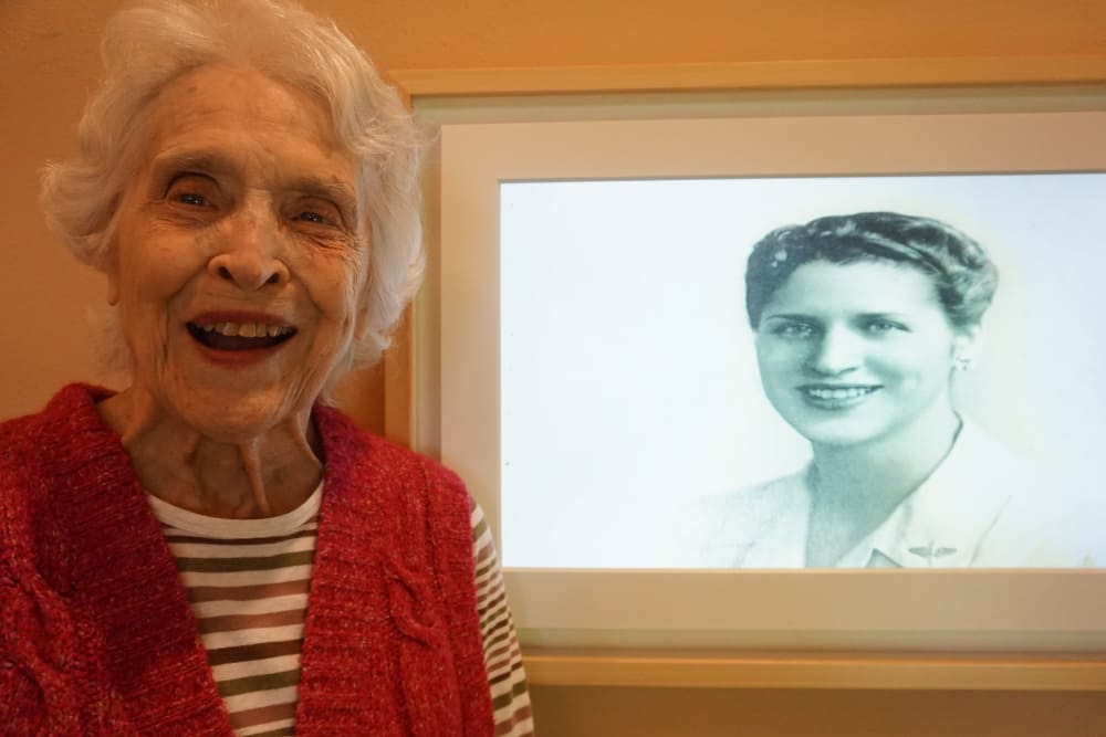 Resident's photo displayed on Merual Canvas at our senior living community