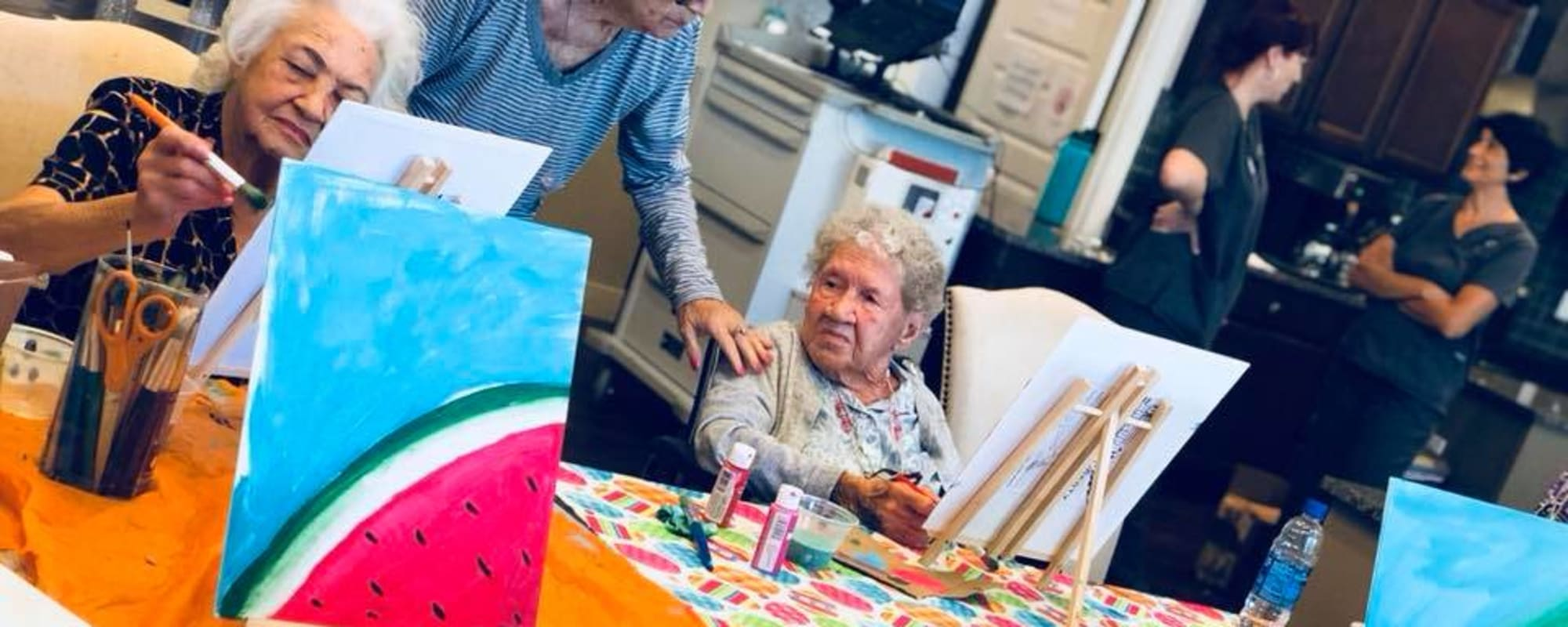 Seniors painting at Hacienda Del Rey in Litchfield Park, Arizona