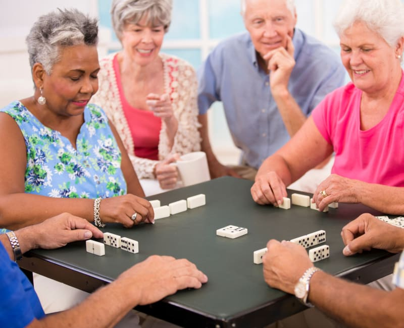 Group of residents playing a game at The Sanctuary at Brooklyn Center in Brooklyn Center, Minnesota