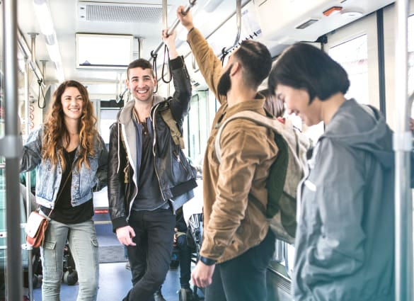 Bossier East Apartments residents using convenient public transportation