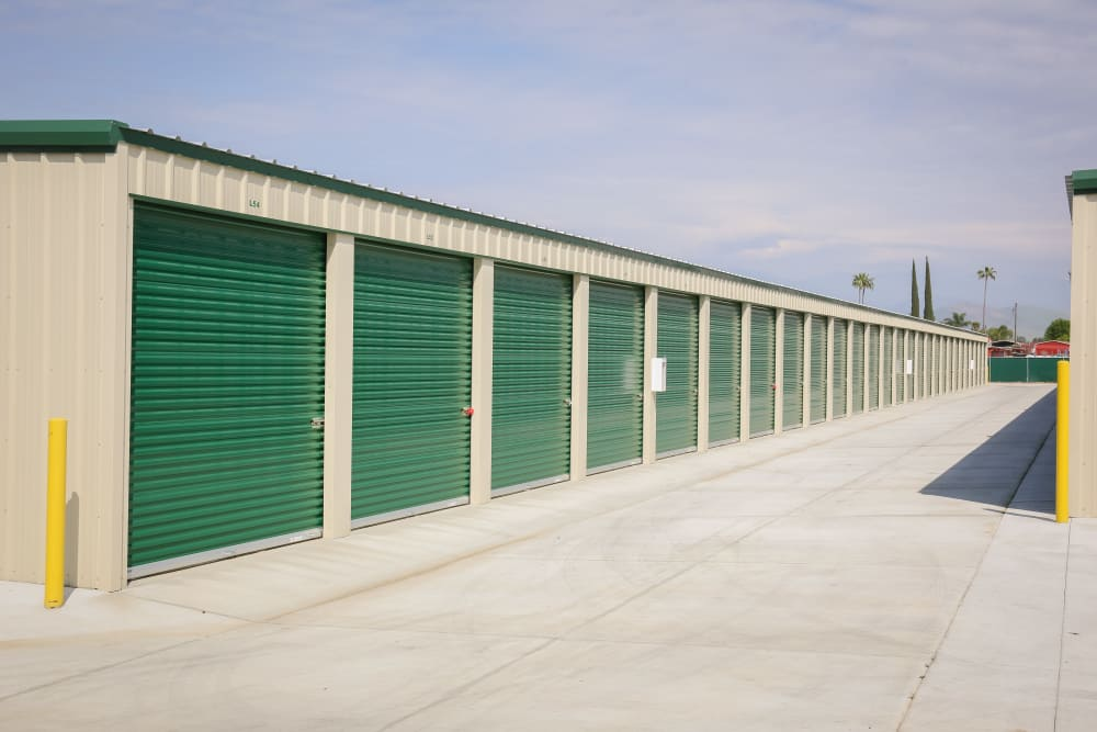 Outdoor storage units at Stor It Self Storage in Porterville, California
