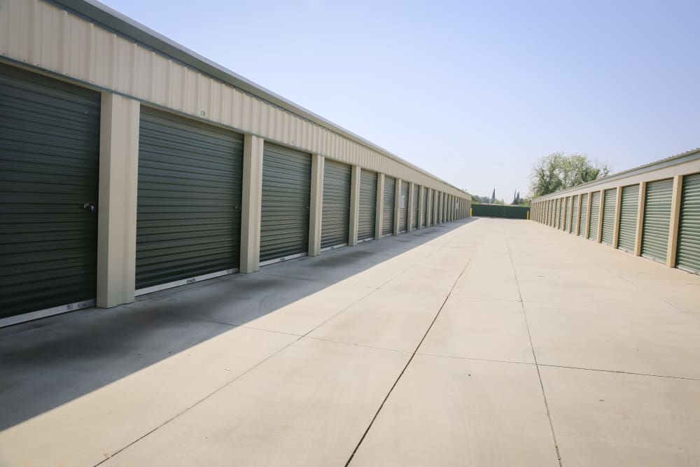 Driveway between outdoor units at Stor It Self Storage in Porterville, California