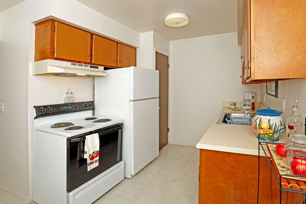 Renovated kitchen at apartments in Roseville, Michigan