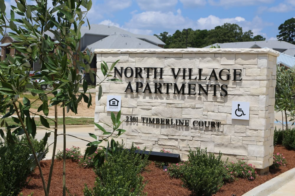 Sign of North Village Apartments in Ruston, Louisiana