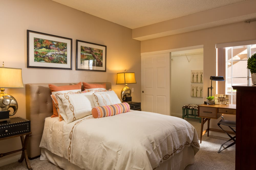 Comfy Bed In Bedroom at Paloma Summit Condominium Rentals in Foothill Ranch, California