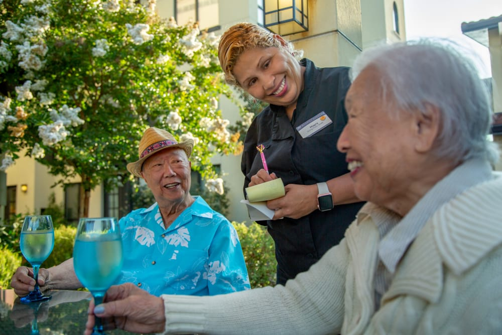 Residents enjoying their dining experience at Merrill Gardens at Rancho Cucamonga