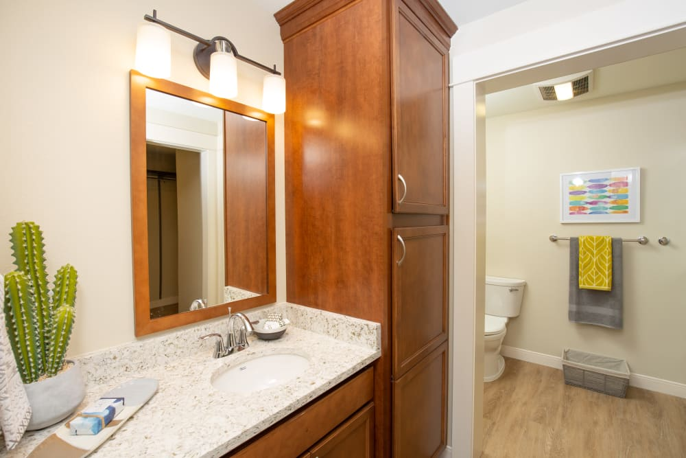 An apartment bathroom with storage space at Touchmark on Saddle Drive in Helena, Montana