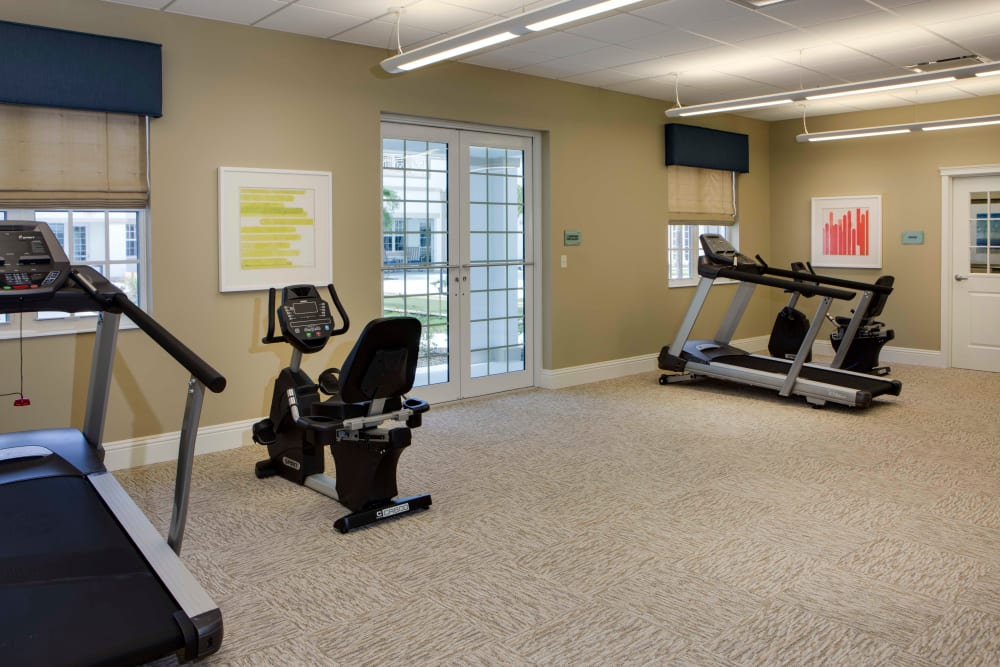 Physical therapy gym at Beach House Assisted Living & Memory Care Naples in Naples, Florida