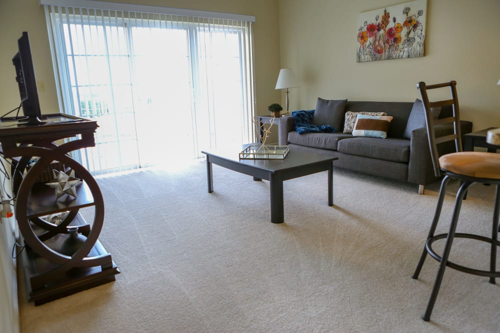 A furnished living room at Harmony at Chantilly in Herndon, Virginia