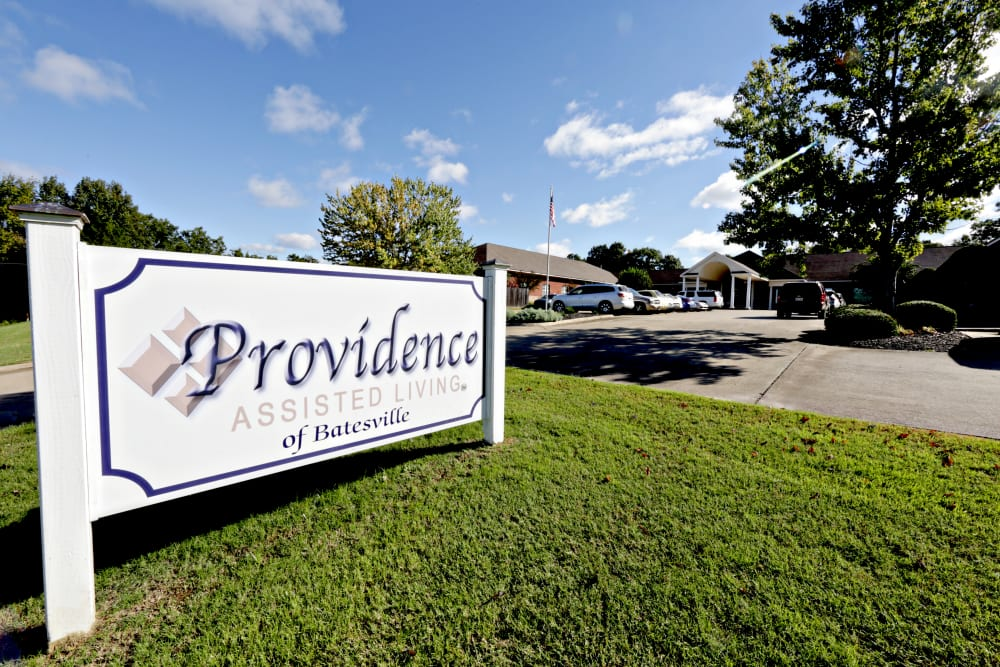 Providence Assisted Living sign in Batesville, Mississippi.