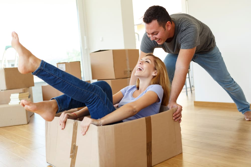 Couple enjoying moving