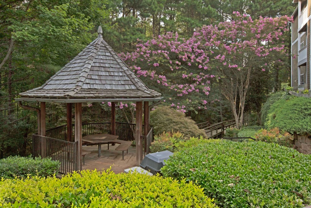 Gazebo with nice shaded seating area at Avia at North Springs in Atlanta, Georgia