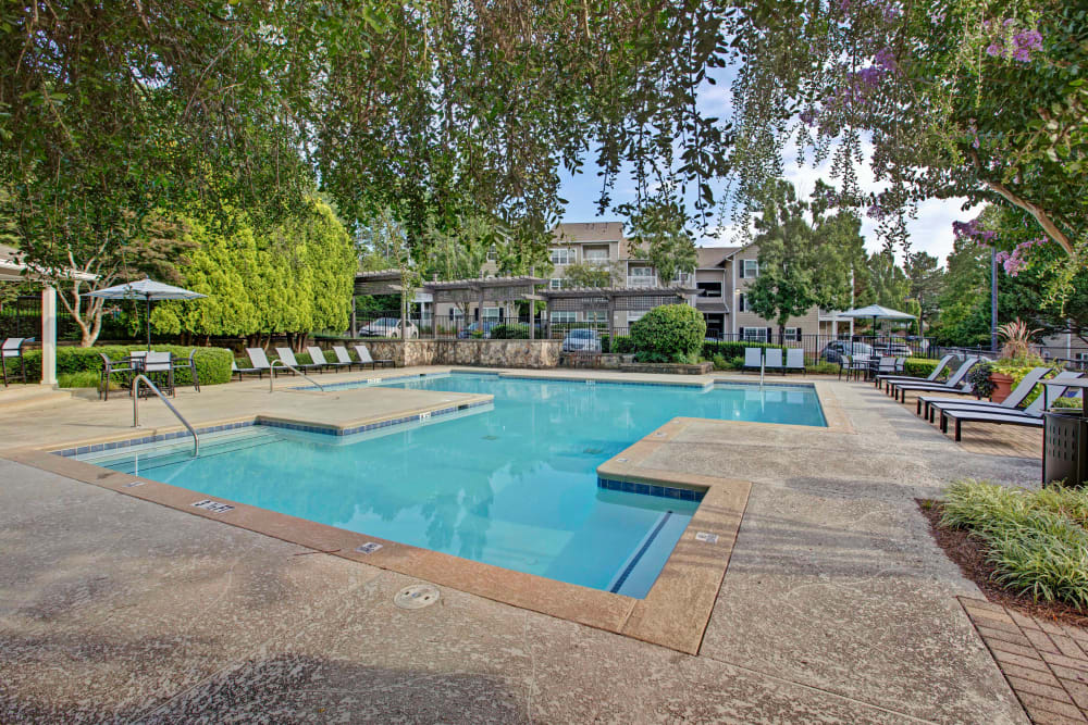 Sparkling pool for residents with well landscaped pool patio at Avia at North Springs in Atlanta, Georgia