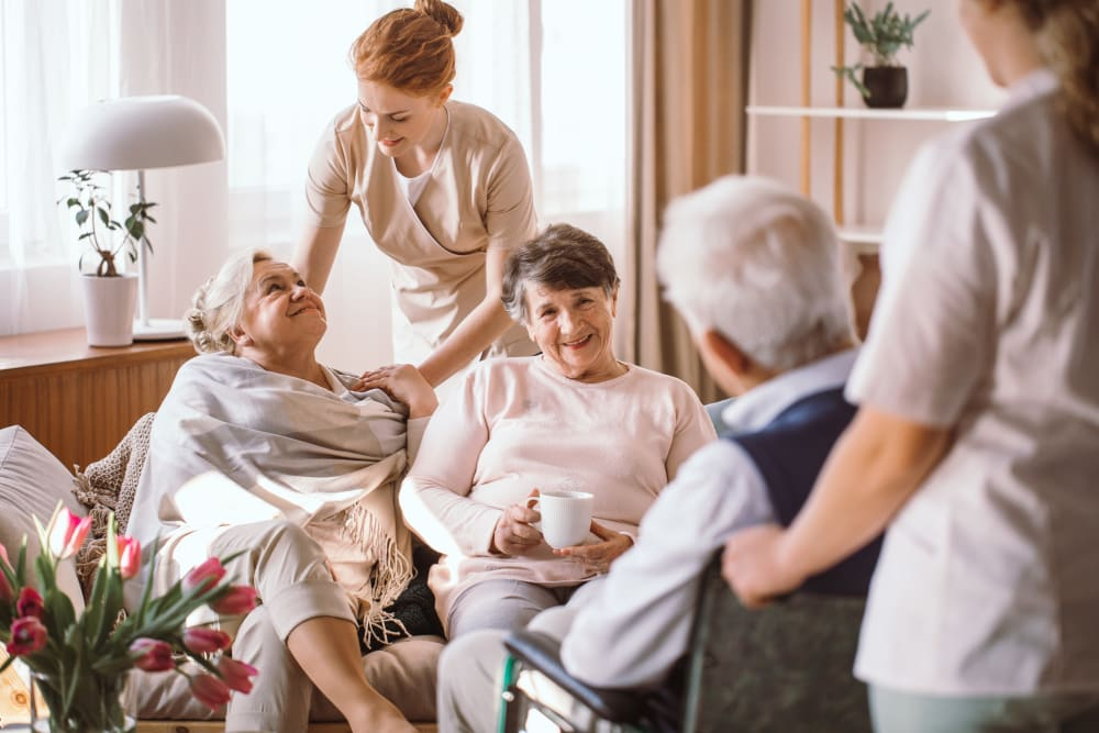 Residents visiting at the on-site spa at Westminster Memory Care in Lexington, South Carolina