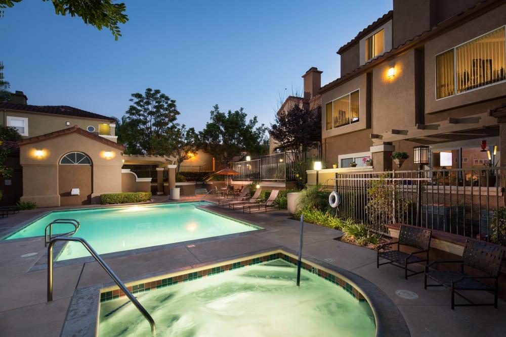 Swimming pool at dusk at Niguel Summit Condominium Rentals in Laguna Niguel, California
