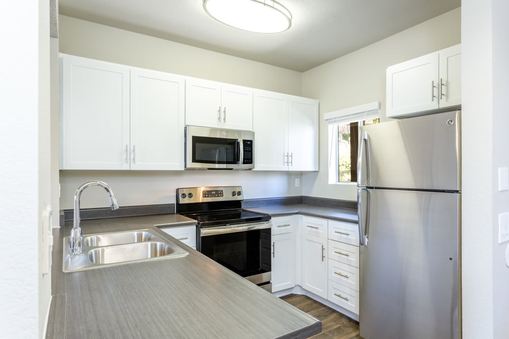 Kitchen with stainless-steel appliances at Niguel Summit Condominium Rentals in Laguna Niguel, California