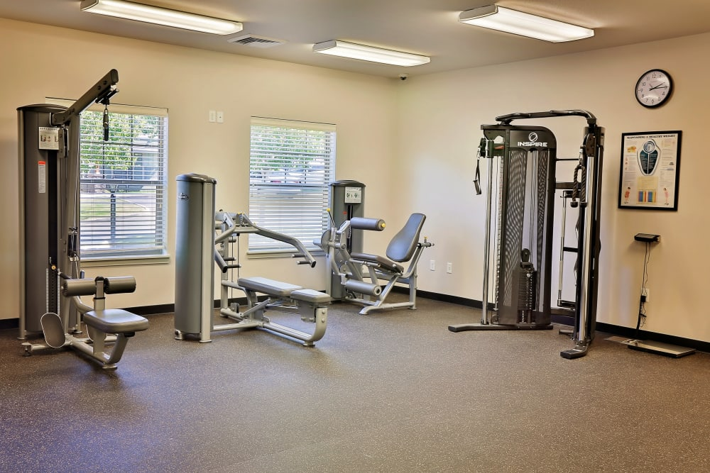 Fully-equipped fitness center at Orchard Ridge in Salem, Oregon