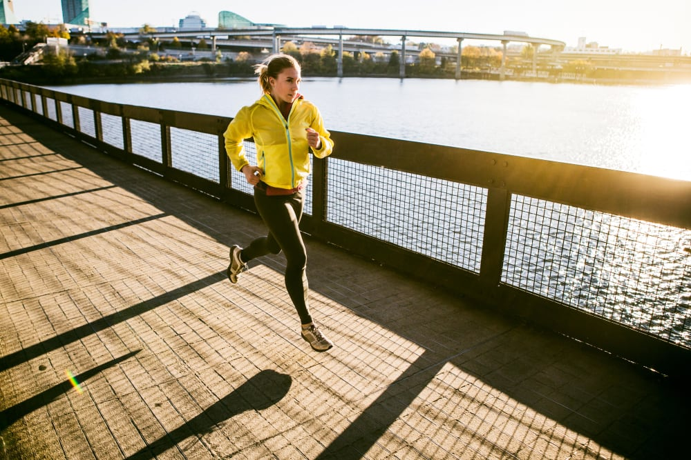 Resident running on a bridge near Marquam Heights in Portland, Oregon