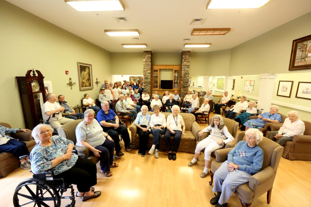 Residents in a community room at Providence Assisted Living in Clarksville, Arkansas.