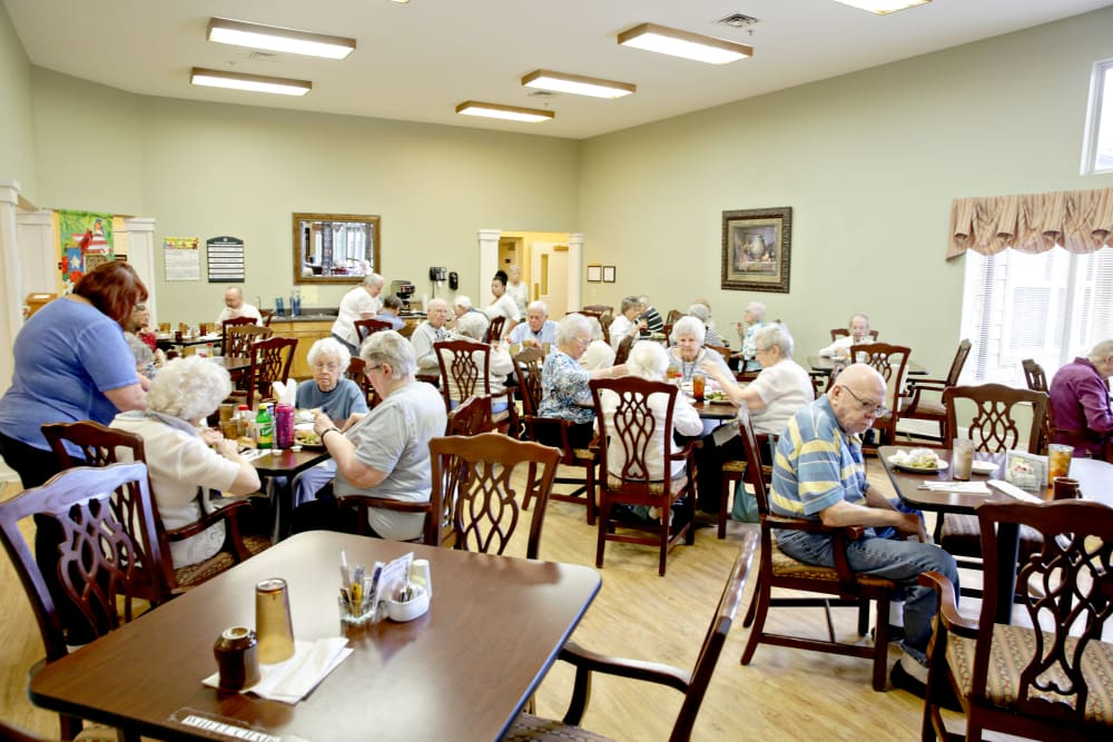 Residents enjoying a meal at Providence Assisted Living in Clarksville, Arkansas.