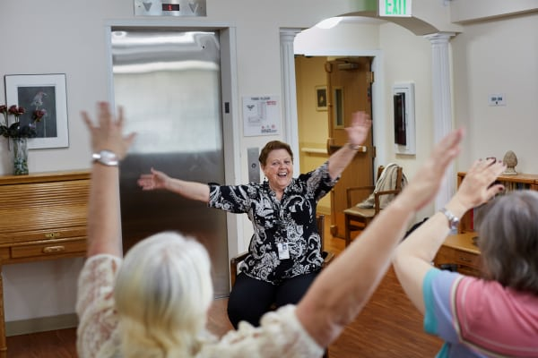 Residents enjoy gatherings in the community room at Dayspring Villa