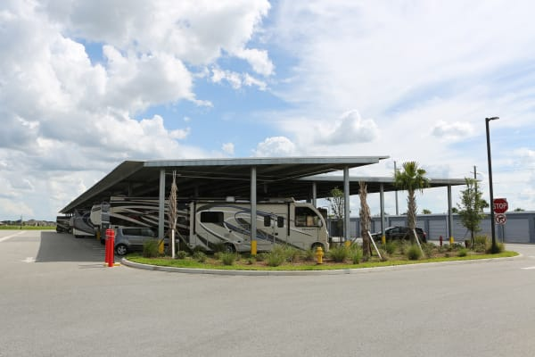 Covered RV storage at Midgard Self Storage in Melbourne, Florida