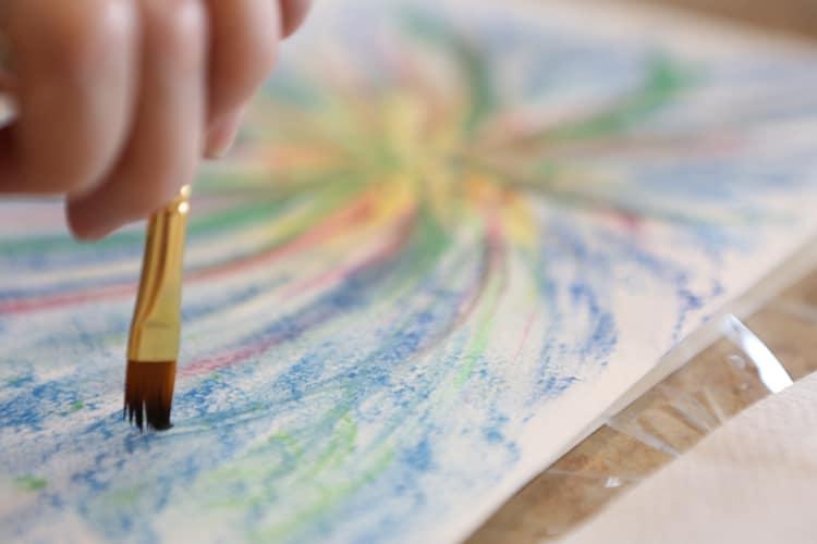 Senior taking an art class at Village at Belmar in Lakewood