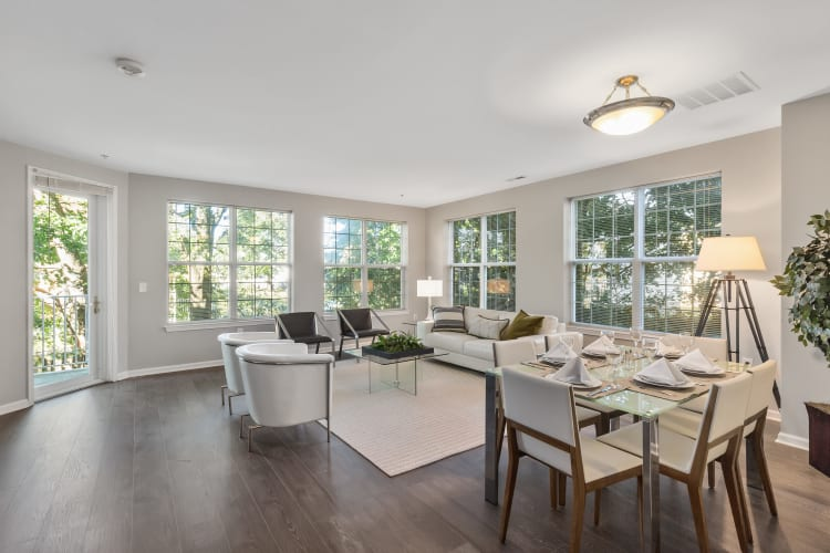 Beautiful open-concept layout with hardwood floors in a model home at The Lena Luxury Residences in Raritan, New Jersey