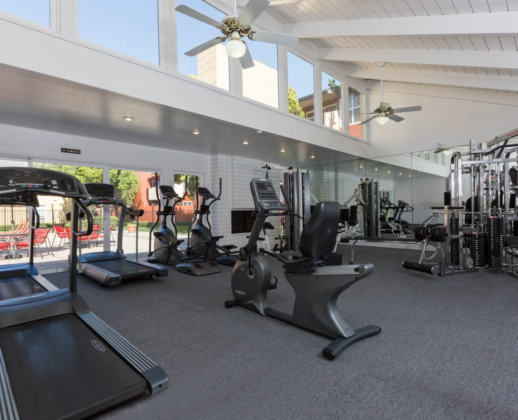Fitness center for residents at Carriage House in Fremont, California
