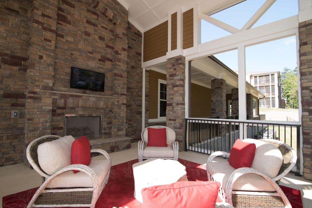 Common area seating Lodge at Croasdaile Farm in Durham, North Carolina