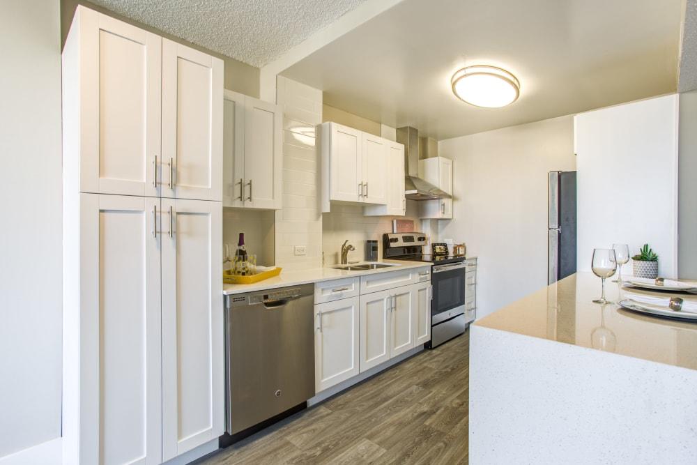 Modern renovated kitchen at Aliro in North Miami Beach, Florida
