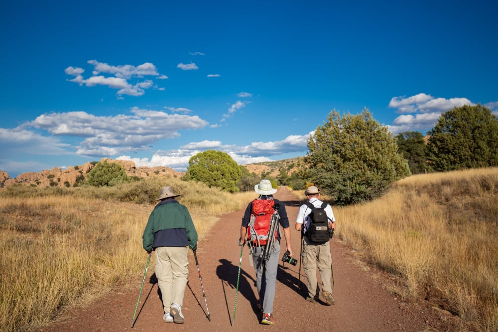 Residents from Touchmark at Harwood Groves in Fargo, North Dakota going on a brisk hike