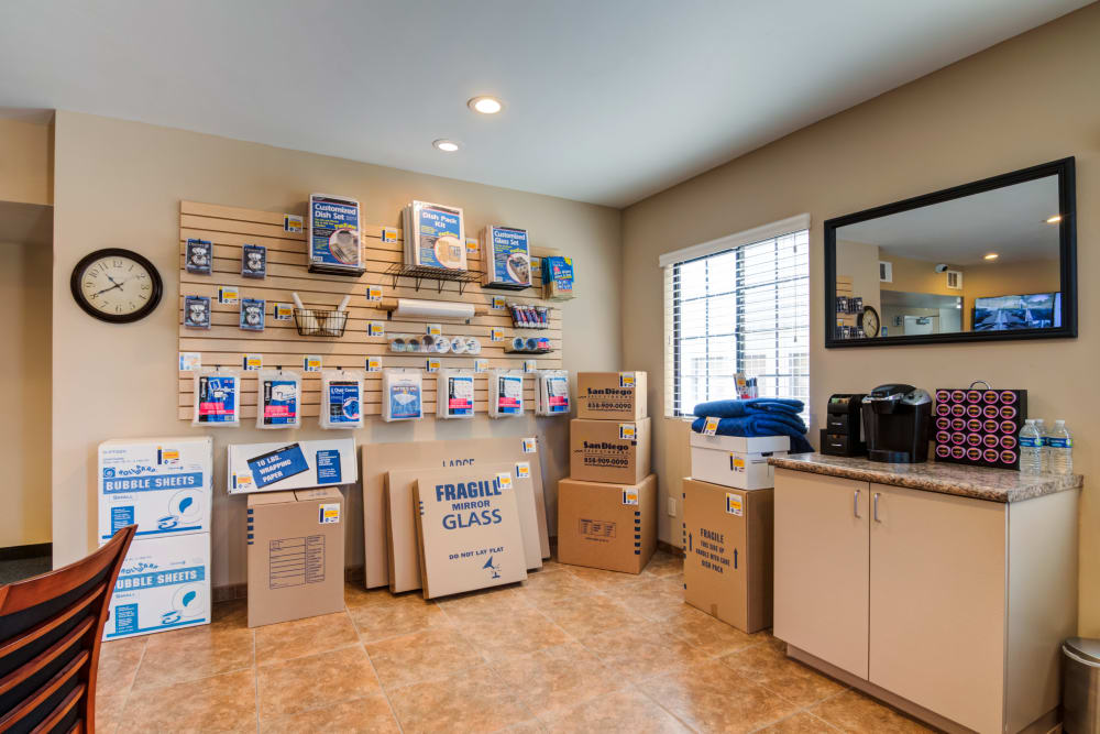 Boxes and moving supplies for sale at Poway Road Mini Storage