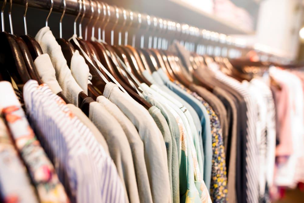 Various shirts in a closet near Devon Self Storage in Pearland, Texas