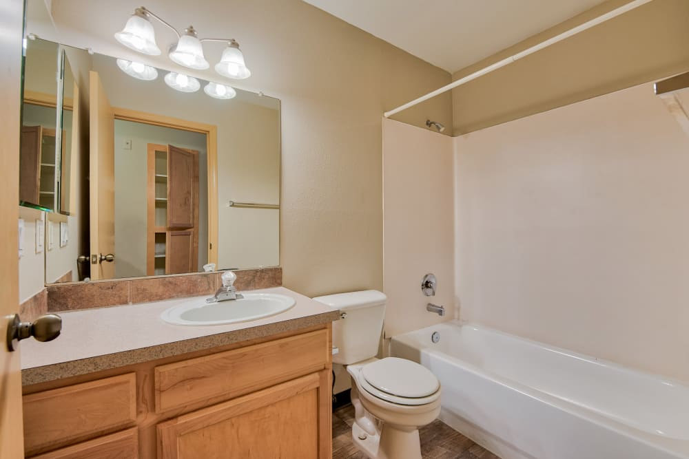 Bathroom at Aravia Apartments in Tacoma, Washington