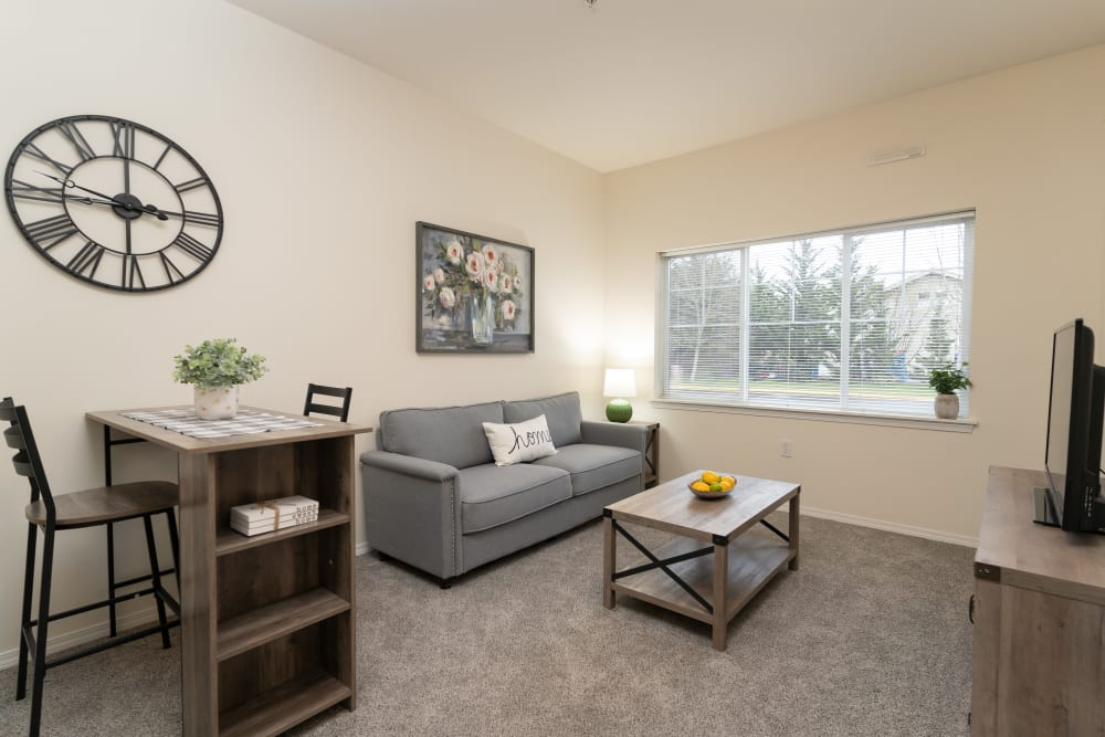 Apartment living space at King's Manor Senior Living Community