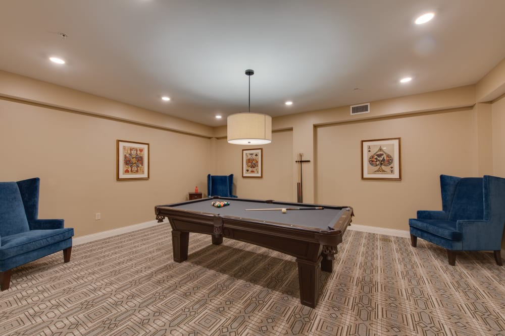 A billiards table in the activity room at Harmony at Harbour View in Suffolk, Virginia