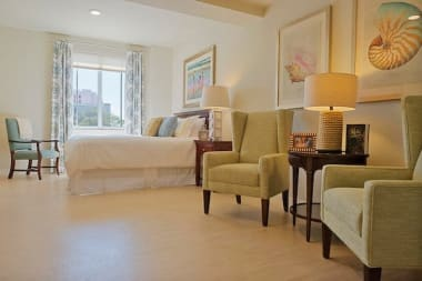 A spacious bedroom at The Meridian at Waterways in Fort Lauderdale, Florida