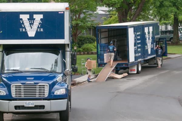 Virginia Varsity moving trucks at Virginia Varsity Transfer & Storage