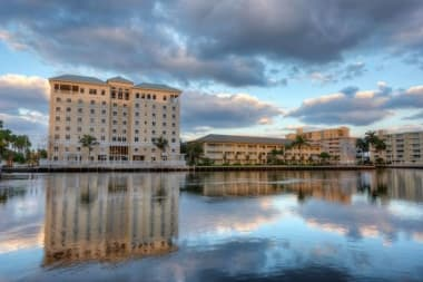 A great view of the lake in front of The Meridian at Waterways in Fort Lauderdale, Florida