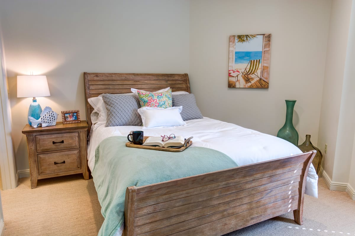 Well-lit bedroom at Estancia Senior Living in Fallbrook, California