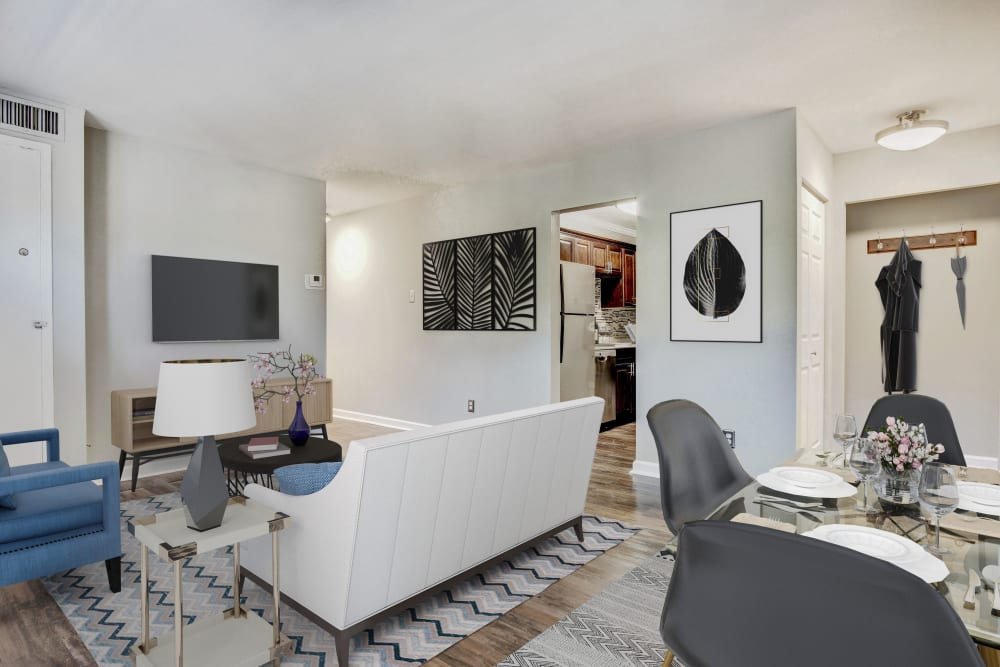 Comfortably furnished model home's living area at Heritage at Shaw Station in Washington, District of Columbia