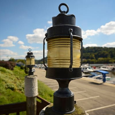 Light on a post near The Docks in Pittsburgh, Pennsylvania
