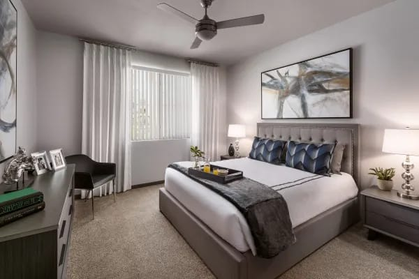 Beautiful bedroom with ceiling fan at Aviva in Mesa, Arizona
