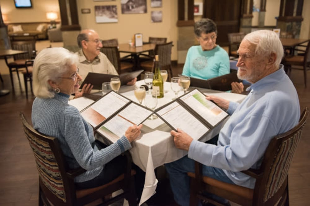 Residents dining at restaurant at The Springs at Tanasbourne in Hillsboro, Oregon