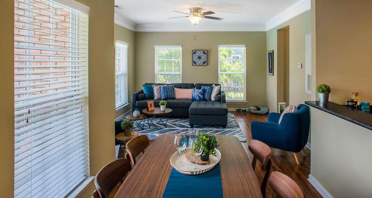 Model living room at Worthington Luxury Apartments in Charlotte, North Carolina