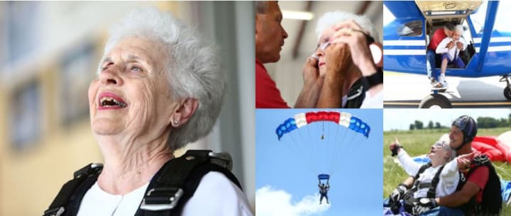 Ruth during her skydiving adventure