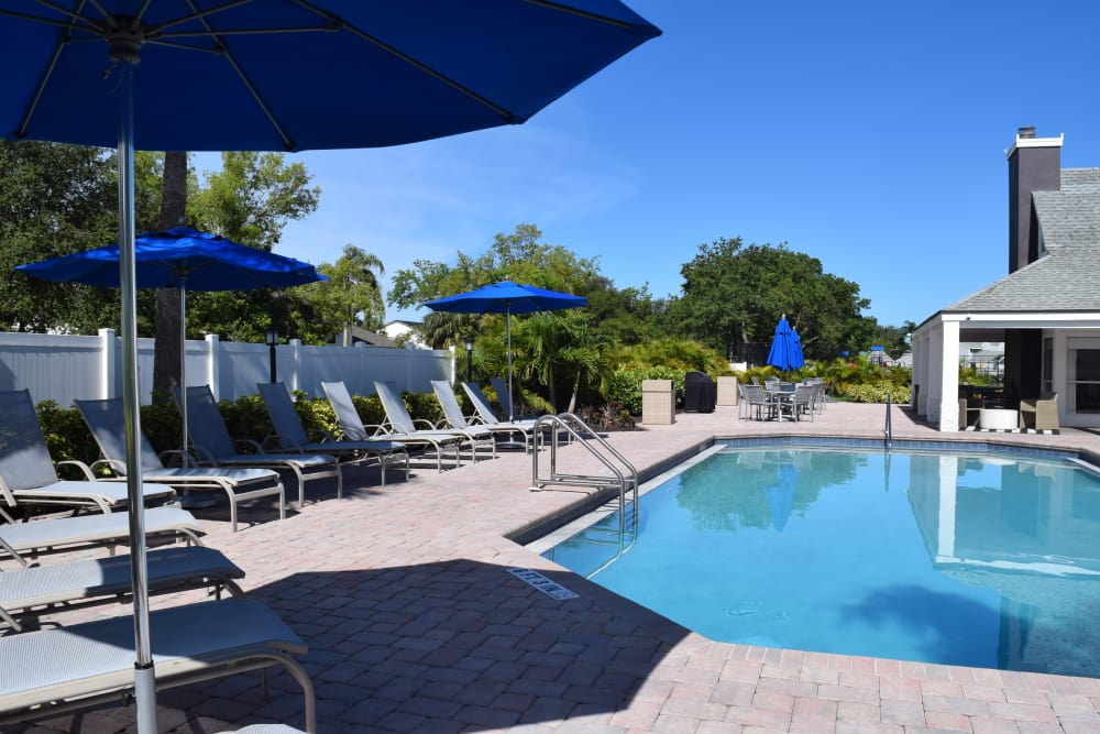 Sparkling swimming pool at Waverley Place apartments in Naples