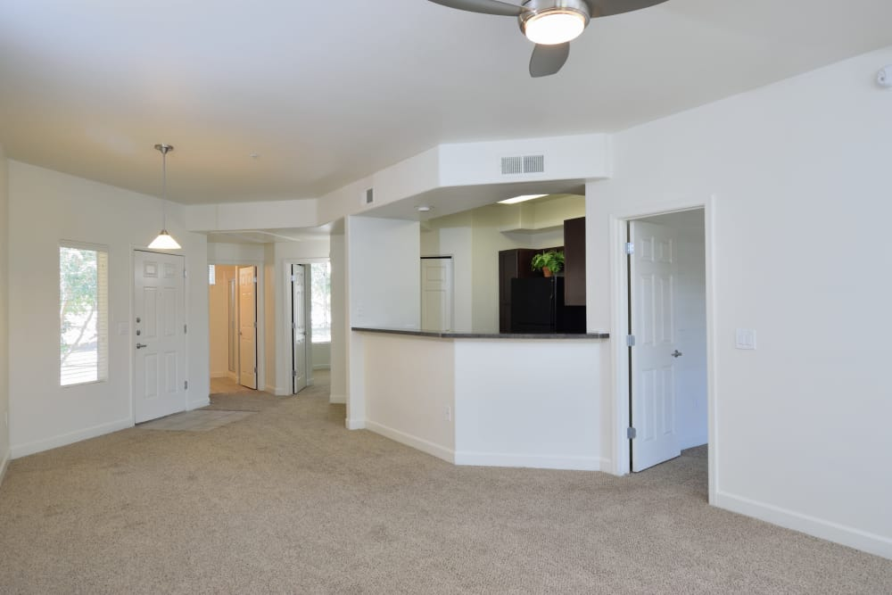 View of spacious open-concept floor plan in apartment home at Lumiere Chandler in Chandler, AZ